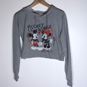 Mickey & Minnie Mouse Cropped Hoodie